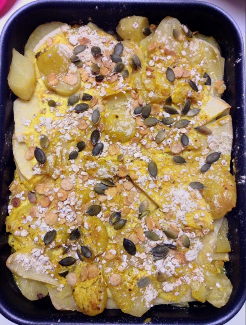 Gratin de pommes de terre et rutabaga à la crème(vegan)