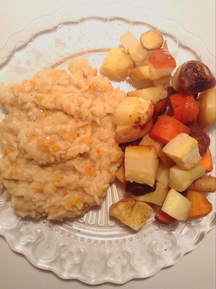 Papillotes de panais & carottes à la sauge et figues séchées, duo de riz et lentilles corail au lait decoco