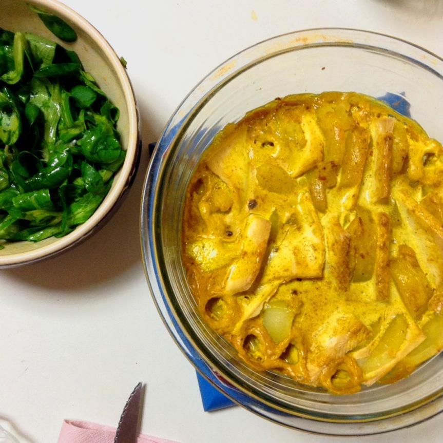 Gratin de pommes de terre et tofu au curry(vegan)