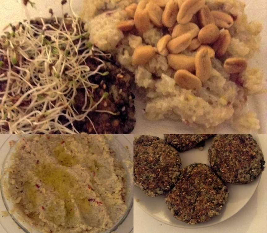 Galettes de lentilles et riz au persil, crème debetterave