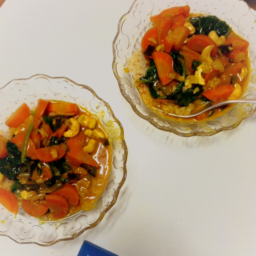 Curry de carottes aux noix de cajou (vegan, sansgluten)