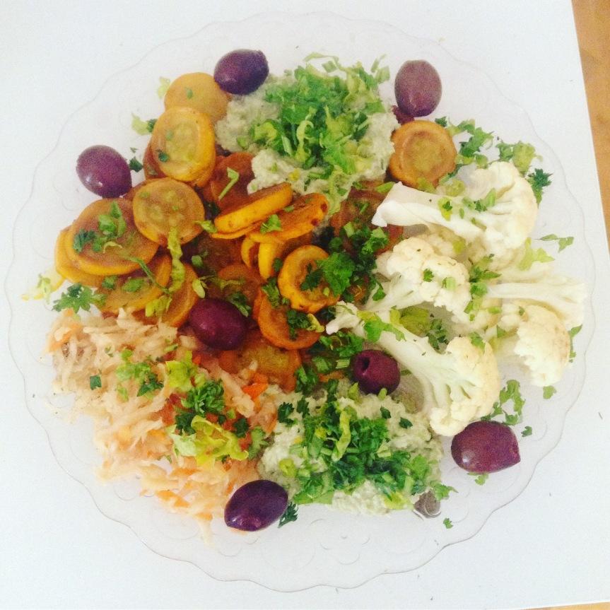 «Houmous» de pois germés au raifort et courgettes àl'ail