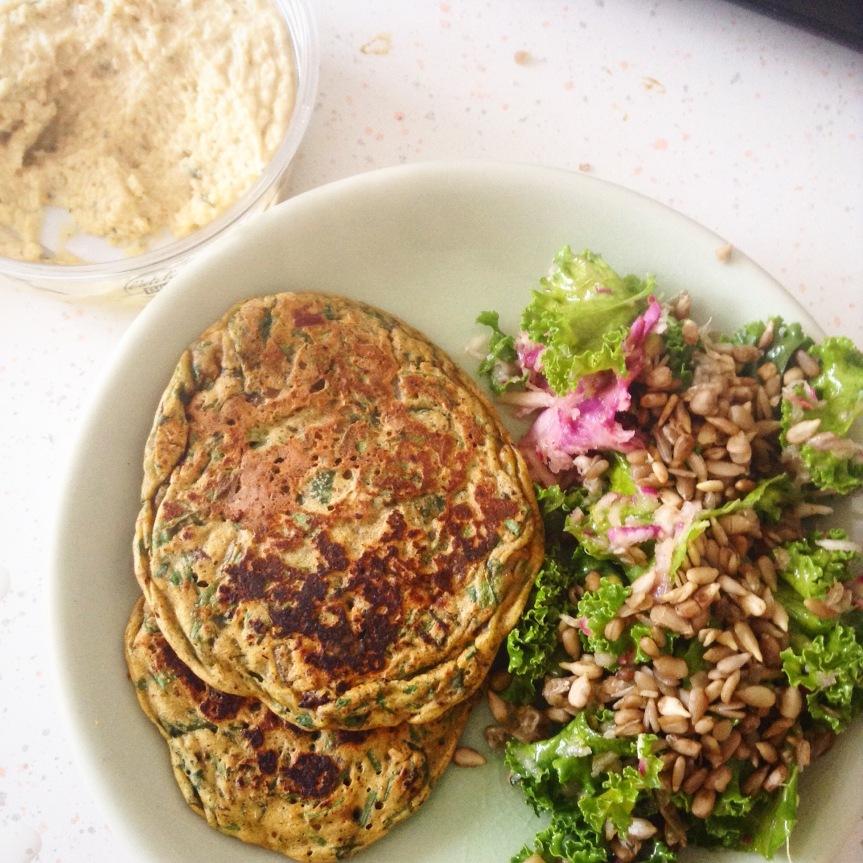 Pancakes de pois-chiches aux épinards et persil (sans gluten,vegan)
