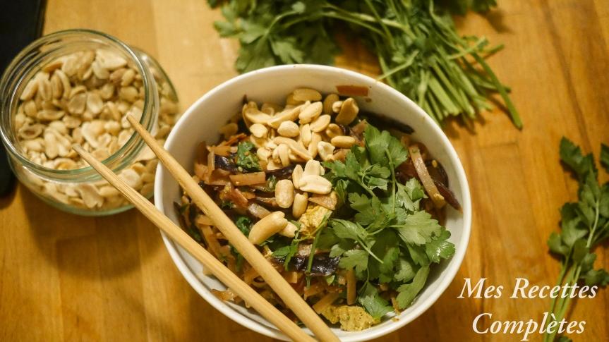 Nouilles aux légumes et tofu mariné façon padthai