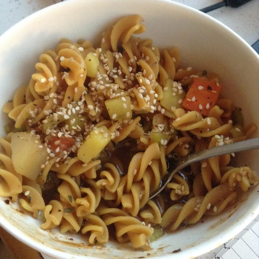 Soupe de nouilles protéinée (vegan, sansgluten)