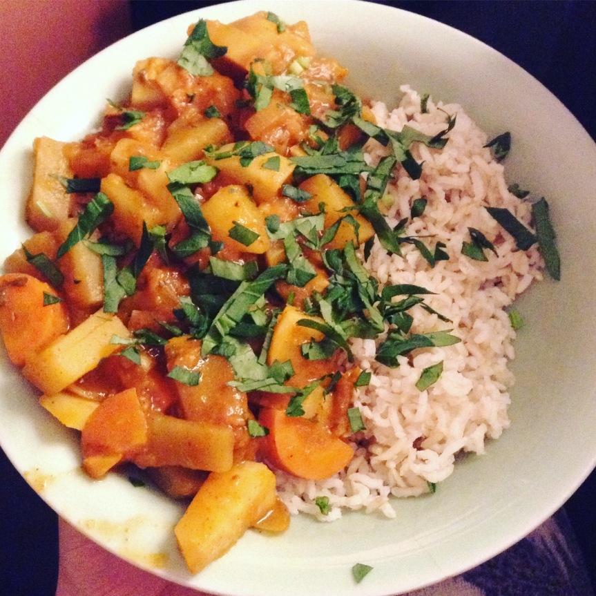curry japonais légumes racines hiver vegan