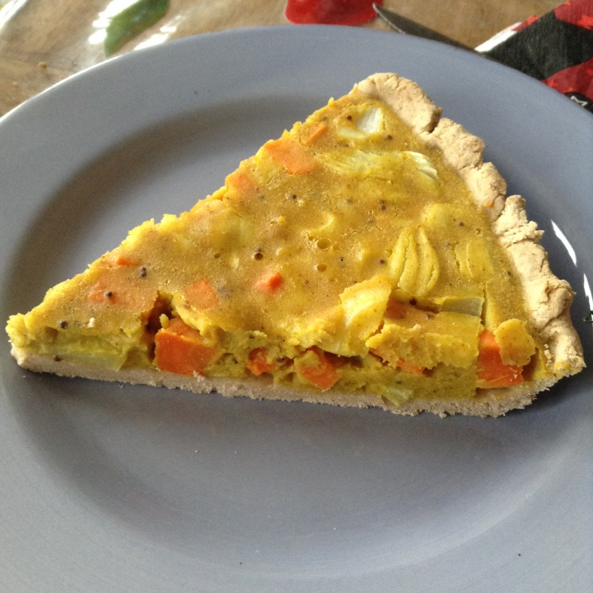 Quiche carottes – curry (sans gluten, vegan)