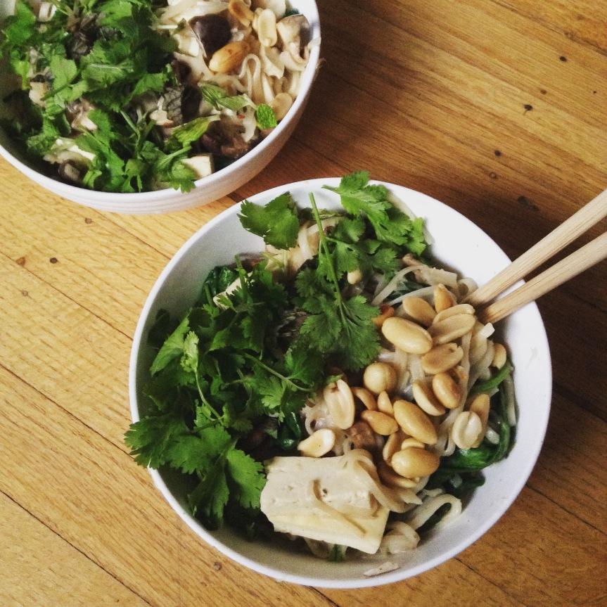 nouilles de riz lait de coco vegan tofu champignons marinés citron vert