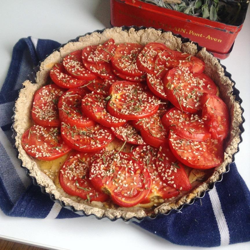 Tarte aux tomates et à la moutarde (vegan, sansgluten)