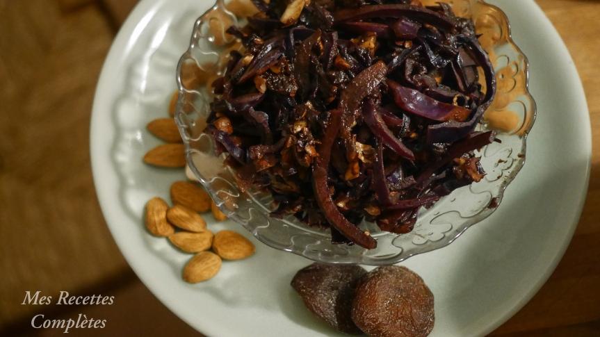 Chou-rouge sauté aux marrons, amandes & abricotssecs