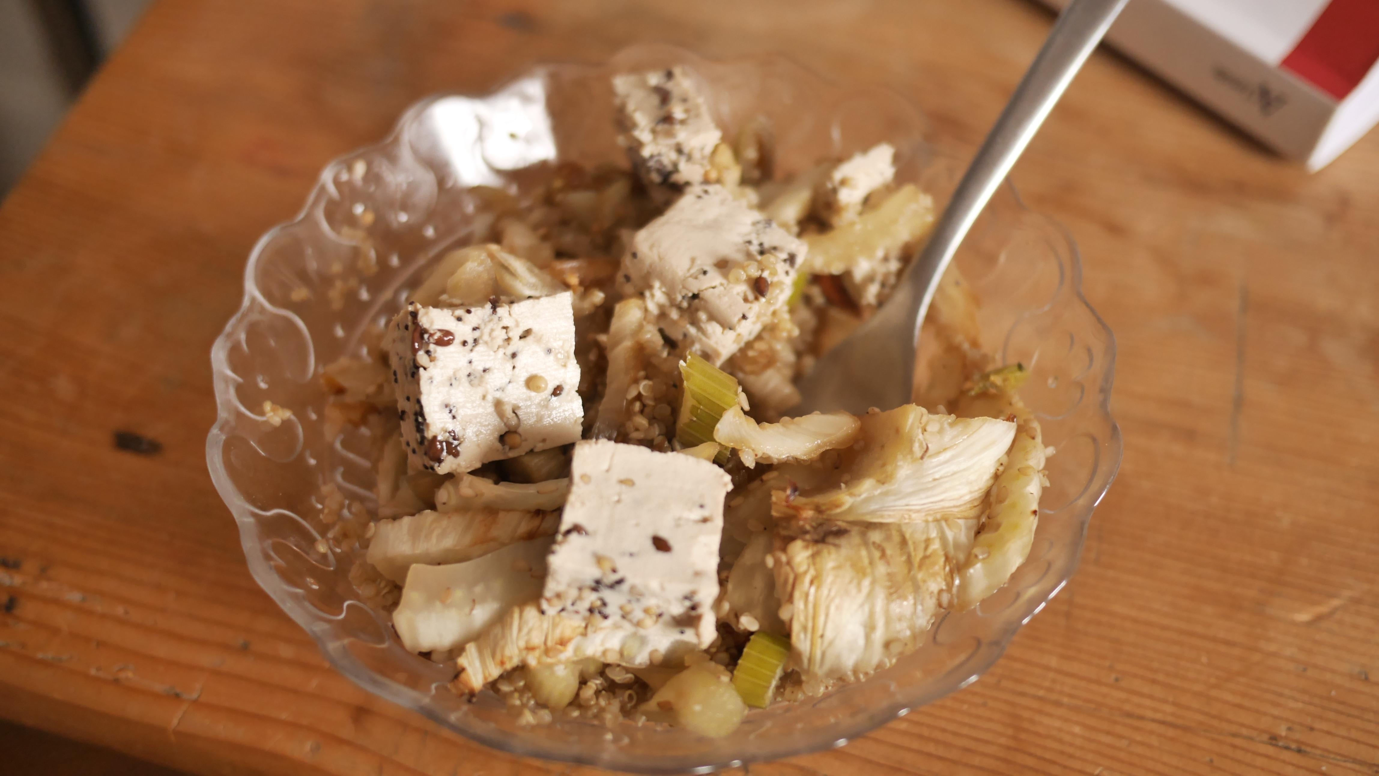 fenouil rôti au sésame quinoa tofu aux graines